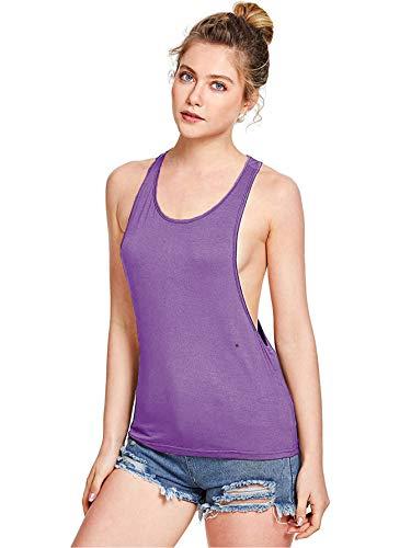 SweatyRocks Women's Sleeveless Flowy Loose Fit Racerback Yoga Workout Tank Top Purple M