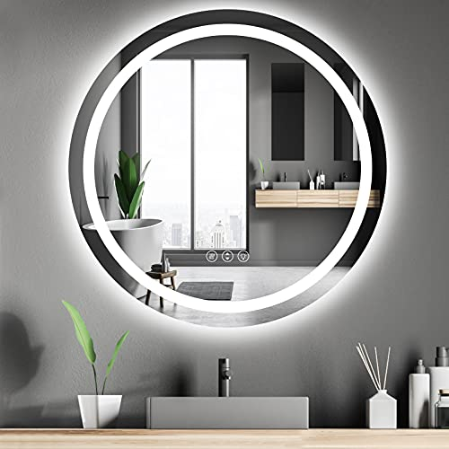 Amorho 80cm Redondo Espejo Baño Espejo de Pared Espejo Colgante Dormitorio Función Antivaho con Luz LED Interruptor Táctil 17 Temperatura de Color Ajustable