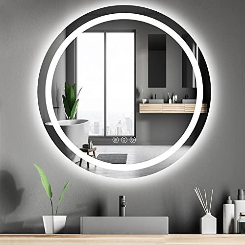 Amorho Specchio da Bagno con Controluce LED,Rotondo 800mm Specchio da Parete,con Interruttore Touch,antiappannamento,regolabile in 3 colori, luminosità bianco caldo e bianco freddo