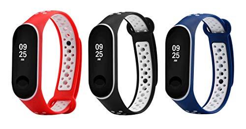 Kit Pulseiras extras para MI Band 3 (Vermelho/Preto/Azul - Estilo Nike)