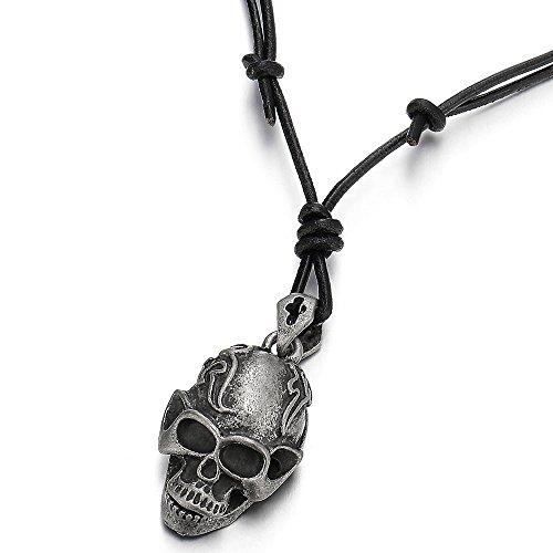 COOLSTEELANDBEYOND Punk Rock Vintage Cráneo Collar con Colgante de Hombre Muchachos Niños, con Cordón de Negro Cuero Ajustable