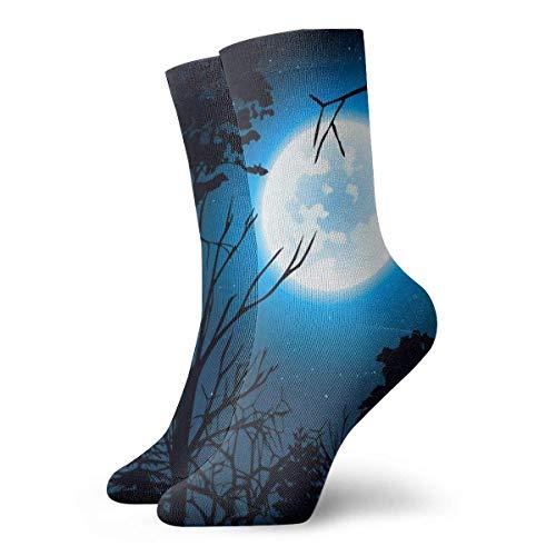 wwoman Novedad Divertido Crazy Crew Sock Sky y Full Moon Impreso Sport Calcetines deportivos 30cm de largo Calcetines personalizados de regalo