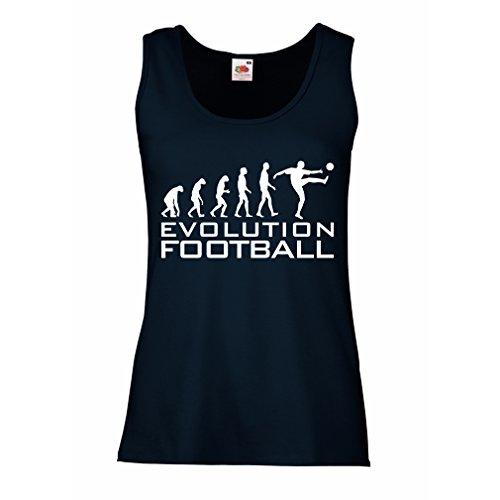 lepni.me Camisetas sin Mangas para Mujer La evolución del fútbol - Camiseta de fanático del Equipo de fútbol de la Copa Mundial (Large Azul Blanco)