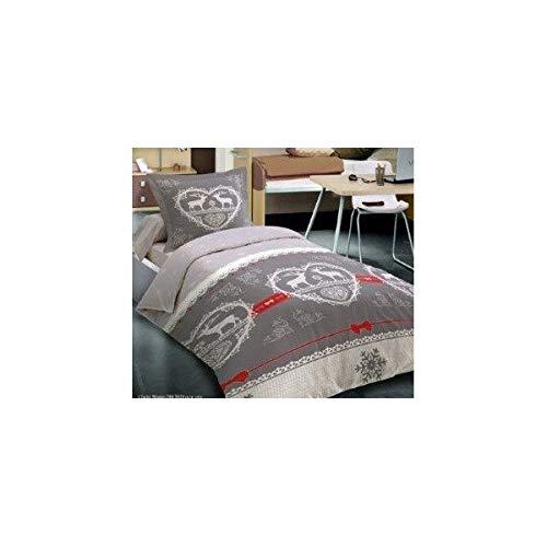 Parure de draps 3 pièces Chalet Winter Gris pour lit 1 Place