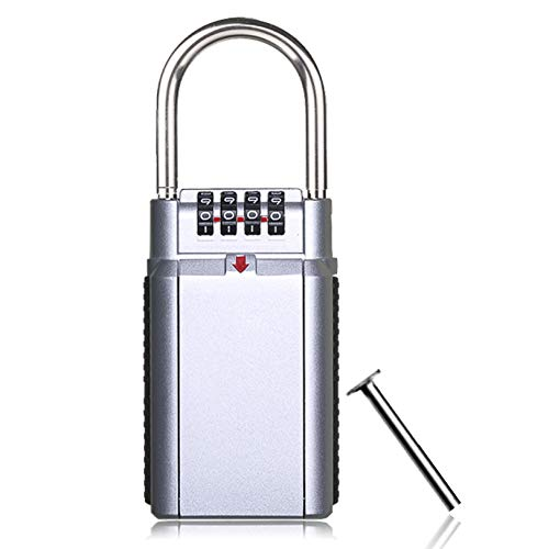 Gigue Schlüsseltresor, Tragbarer Schlüssel-Safe mit 4-stelligem Zahlenschloss schlüsselbox, Aufbewahrung, Haus, Auto, Vorhängeschloss, Sicherheit drinnen und draußen(Silber)