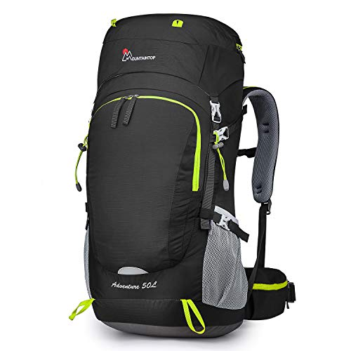 MOUNTAINTOP 50L/60L Hiking Backpack with Rain Cover (50L-Black)