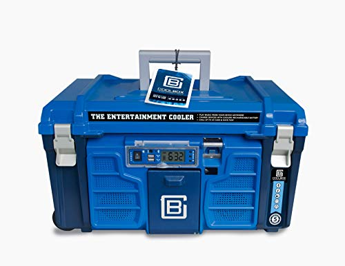 Coolbox: Accesorios incorporados como altavoces Bluetooth duros, caja de hielo portátil sobre ruedas, caja de bebidas aislada para viajes, picnics y camping (azul)