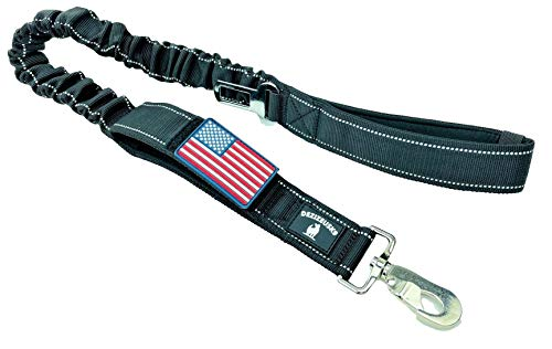 Tactical Bungee K9 Dog Leash - 1.5' INCH Wide Dog LEASHES for XL Dogs Heavy Duty Nylon Elastic Stretch Shock Absorbing Military Dogs Training LEASHES with Removable American Flag Patch (Black, Solid)