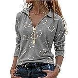 N\P Las mujeres de la impresión del corazón de las blusas ocasionales de la cremallera del cuello en V de la camisa de algodón de manga