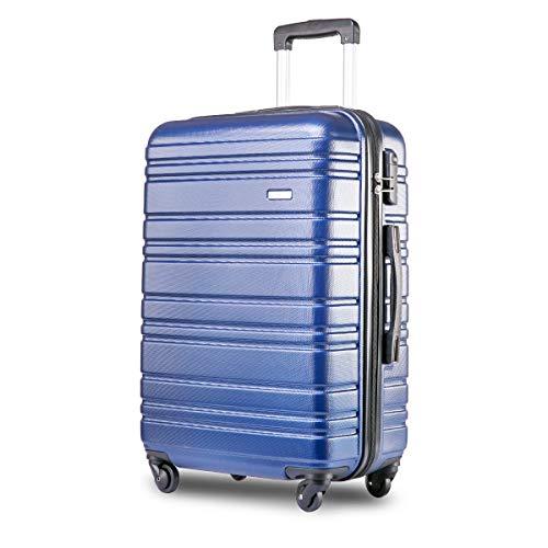Nishore Lightweight Hard Shell 4 Wheel Travel Trolley Suitcase Luggage Set Holdall Cabin Case (20', Blue)