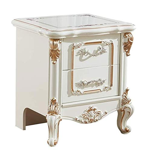JJZXD Beside Table with 2 Drawers, Night Table Stand Lamp Table End Table Side Table, White