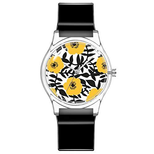 ULTECHNOVO Kinderuhr wasserdichte Uhr Süße Blumen Armbanduhr Japanische Bewegung Armbanduhr Mädchen Plastikuhr (Schwarz)