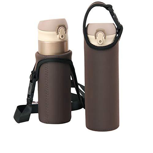 水筒カバー 保温 保冷 ボトルカバー ペットボトルカバー ステンレス水筒ケース サーモス使用可能 携帯式 ショルダーストラップ 登山 マイボトル ホルダー カバー こどもクッション 保護 かわいい おしゃれ 斜めがけ,ブラウン