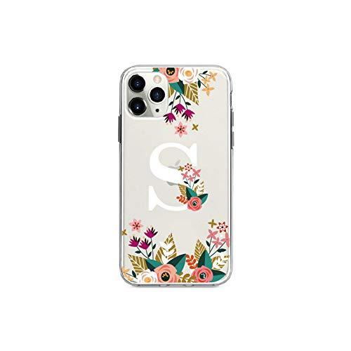 copertura del telefono Personalizzato Fiore Corona Telaio Classy Ragazza Iniziali Alfabeto Cassa Del Telefono Per Iphone Xs Max X Xr 11 Pro Max 8 8Plus X 7 Plus Soft Tpu-S-Per Iphone X Xs