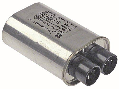 Horeca-Select HV-Kondensator CH85-21105 für Mikrowelle Anschluss Flachstecker 6,3mm Becherkondensator Breite 52mm 50/60Hz 1,05µF