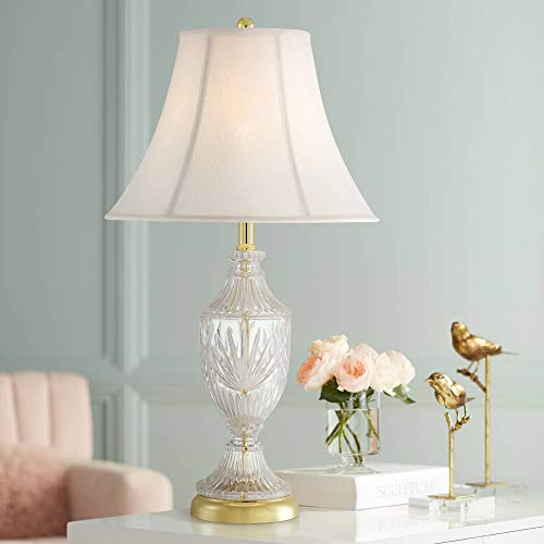 Traditional Table Lamp Cut Glass Urn Brass White Cream Bell Shade for Living Room Family Bedroom Bedside Nightstand - Regency Hill