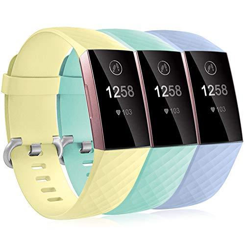 Dirrelo 3 Pack Cinturini Compatibile con Fitbit Charge 3/Fitbit Charge 4/Charge 3 SE Cinturino per Donna Uomo, Cinturino Sportivo di Ricambio Silicone Morbido Regolabile, Lila+Amarillo+Mar Azul S