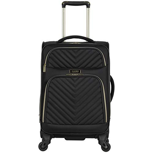 Kenneth Cole Reaction Women's Chelsea 20' Softside Chevron Quilted Expandable 4-Wheel Spinner Carry-On Suitcase, Black