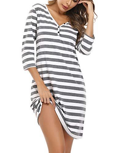 Doaraha Nachthemd Damen Baumwolle Streifen V-Ausschnitt 3/4 Ärmel, Gestreift Schlafshirt Sleepshirt Nachtkleid Kurz