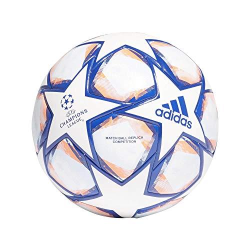 adidas Fin 20 Com, Pallone da Calcio Uomo, White/Team Royal Blue/Signal Coral/Sky Tint, 5