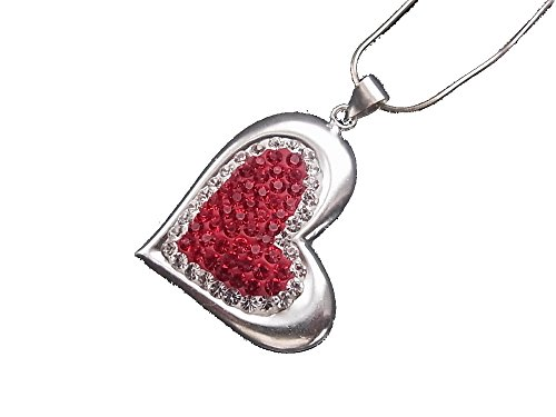 925Sterling Silver Necklace with Pendant Heart Love Cystal Red
