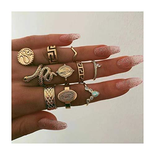 Set di anelli a forma di serpente con pietre preziose e anello in oro per donne e ragazze