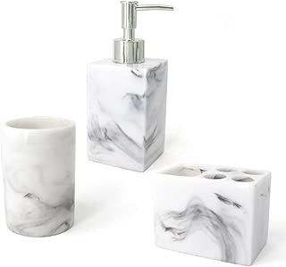 LUANT Resin Marble Style Bathroom Soap Dispenser, Toothbrush Holder and Tumbler