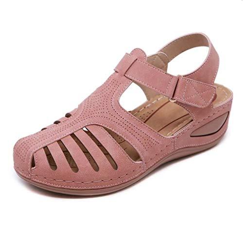 Sandalias de cuña para Mujer Moda Color sólido Ahueca hacia Fuera Correa de Palo de PU Punta Cerrada Casual al Aire Libre Roma Verano Tallas Grandes 42 Sandalias de Playa para Mujer