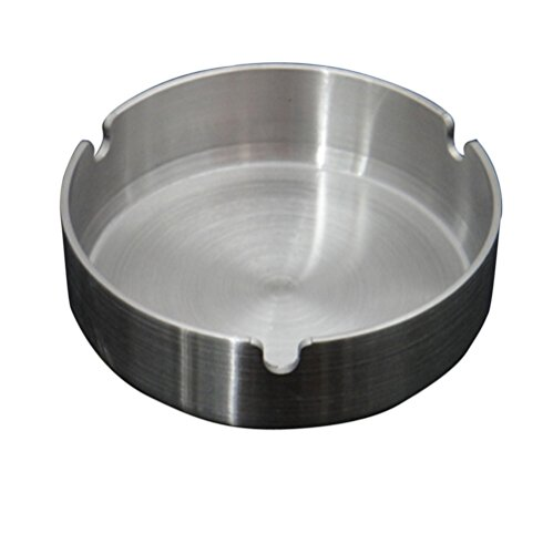 XINYU Home Silver Tone 10cm Customized Logo Stainless Steel Round Cigarette Ashtray, for Home or Office use.