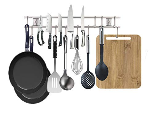 24 Inch Stainless Steel Magnetic Knife Strip,with 10 Removable Square Hooks,Multi-use as Utensil Rack, Knife Holder, Cookware Rack, Cutting Board Rack, Space Saving Organizer for Kitchen