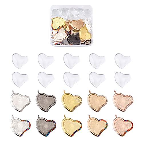 Cheriswelry 40 colgantes de bisel de corazón de diamantes de imitación de colores pavimentados con cúpulas de vidrio transparente en blanco Cuenta de ajuste de cabujón para hacer joyas: 4 mm