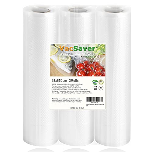 VacSaver Rollos al Vacío - 3 Rollos 28x650cm Bolsas de Vacío para el Almacenamiento de Alimentos y la Cocina Sous Vide, Bolsas de Vacío para Alimentos Aptos para Todas las envasadoras al vacío