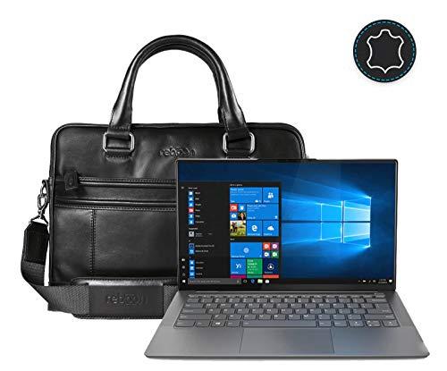 Leder Laptoptasche für Damen/Herren passend für Lenovo Yoga S940 | Schwarz Leder
