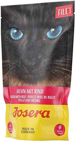 JOSERA Filet Huhn mit Rind (16 x 70 g) | getreidefreies Katzenfutter mit Filetstückchen | Super Premium Nassfutter für ausgewachsene Katzen | 16er Pack