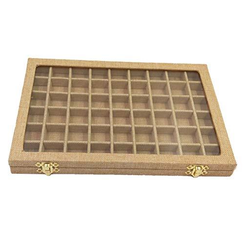 JJZS Schmuckschatulle Ring Box Aufbewahrungsbox Elegante Schmuck Aufbewahrungstablett Schmuck Display Rack Mini Grid Aufbewahrungssammler Vitrine , Gelb
