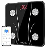 Bluetooth Body Fat Scale, Digital Body Weight Scale Smart Bathroom Scale, Body Composition Monitor Health Analyzer with iOS, Android APP for Body Weight, Fat, Muscle Mass, BMI, BMR and More, 400lbs