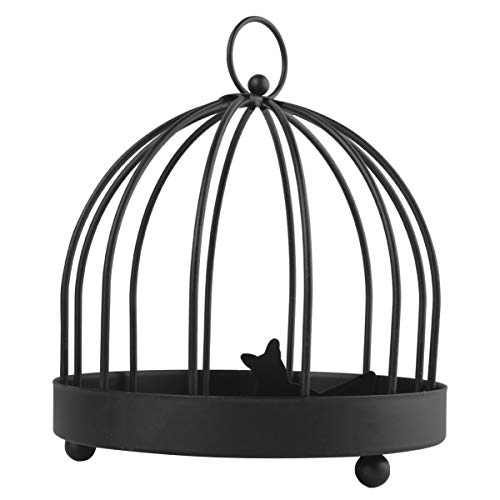 Holibanna Jaula de Pájaros Organizador del Sostenedor de La Joyería Bandeja de Metal de La Joyería Exhibición Estante Plato Plato de Almacenamiento para Aretes Pulsera Cosmética Negro