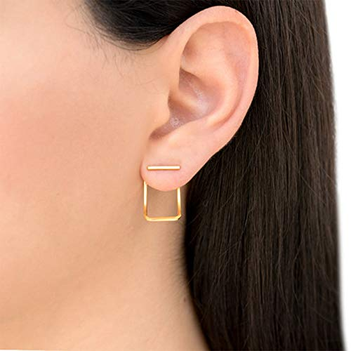 Yienate - Set di orecchini a forma di mini barra, con design a forma di arco e curvo, con pendente geometrico, rettangolare, accessori per donne e ragazze (oro)