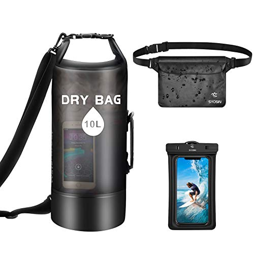 SYOSIN Waterproof Dry Bag 10L + Phone Pouch + Bum Bag Set of 3, Lightweight Foldable Floating Backpack with Adjustable Shoulder Strap for Beach, Swimming, Kayaking, Skiing, Hiking, Camping & Fishing