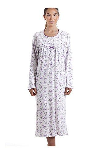 CAMILLE Damen Nachthemd aus 100 % Baumwolle langärmelig weiß mit lilafarbenem Blumenmuster 48/50