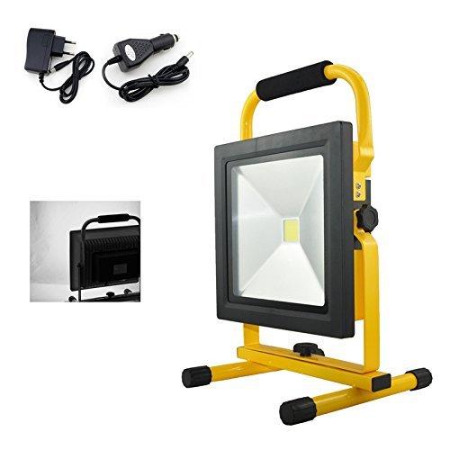 HG® 50W LED Akku Kaltweiß Strahler Arbeitsleuchte Baustrahler Handlampe Flutlicht Außenbeleuchtung Scheinwerfer