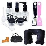 Kit Accesorios para viajeros básico Pack artículos Botellas para cosméticos Etiquetas Equipaje Set Descanso Almohada Cuello Mascara Dormir Tapones