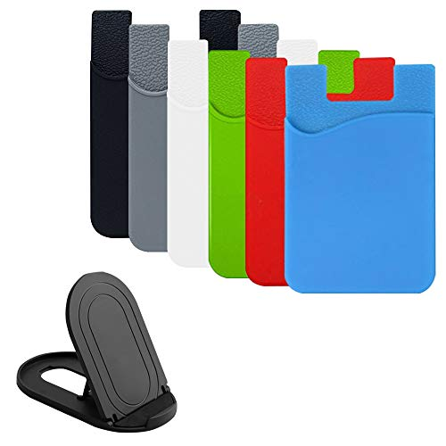 AFUNTA Handy-Kartenmappe, 6 Pcs Klebstoff-Kartenhalter und 1er Pack Handyständer für ID/Kreditkarte, Handyhüllen, Tasche kompatibel mit den meisten Smartphones - 6 Farben