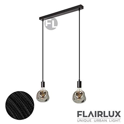 Pendelleuchte schwarz Metall 2-flammig mit Textilkabel, 2x E27 Fassung Hängelampe Esszimmer, Deckenlampe Wohnzimmer, Deckenleuchte Led, Esstischlampe hängend. (Schwarz FL01, 2x 1,5m für Neubau)