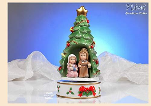 ARTE DEGLI ARGENTI Carillon Meccanico Natalizio in Porcellana Made in Italy 100% Altezza CM.25 Albero di Natale con PRESEPE Tipo Naif PRESEPE PB0986