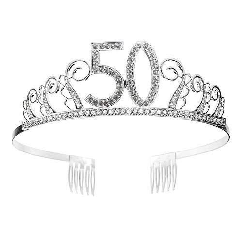 50 Geburtstag Krone Diadem Tiara mit Haarkamm Kristall Strass Silber Geburtstagsgeschenk zum 50 Jahre für Frauen Prinzessin Party Supplies und Dekorationen mit Kristall Silber