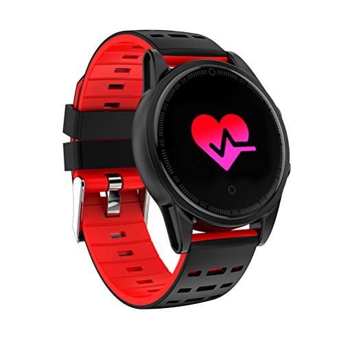 PartyKindom Reloj inteligente con cámara GPS Soporte Monitor de ritmo cardíaco Cronómetro Velocímetro Actividad Smartwatch para Android IOS Phone (Negro+ Rojo) para regalo