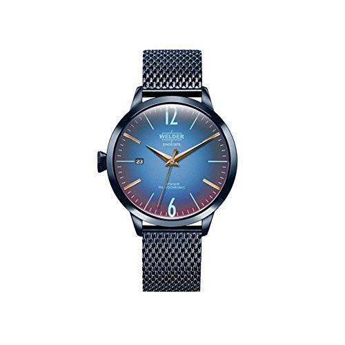Welder Damen-Armbanduhr 38mm Armband Edelstahl Blau + Gehäuse Quarz WRC609