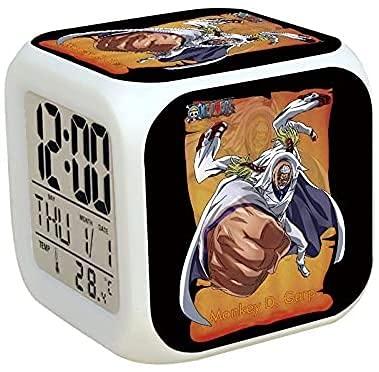Ltyxyuan UNA Pieza Animación Colorido Luminoso Alarma Cliprative Cumpleaños Regalo Pequeño Reloj electrónico Luminoso Monkey D GARP Doujin Perifheral Reloj electrónico