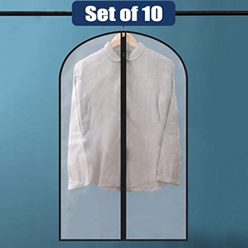 Garment Covers, waterdicht Anti-mijt Ademende Suit Protector Stofdichte Kleding Cover Moth Proof Coat tas met Zip PEVA doorschijnend jurk Cover 10st (Color : Black, Size : 60 * 80cm)